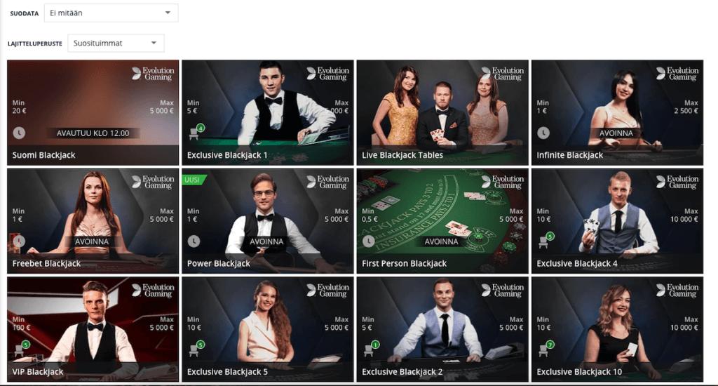 Blackjack pöytiä live casinolla