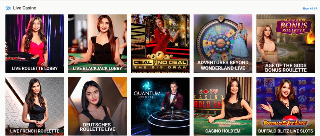 Live casinopelejä