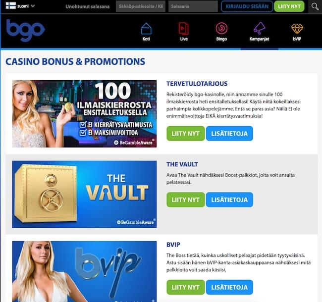 BGO kasinon kampanjat