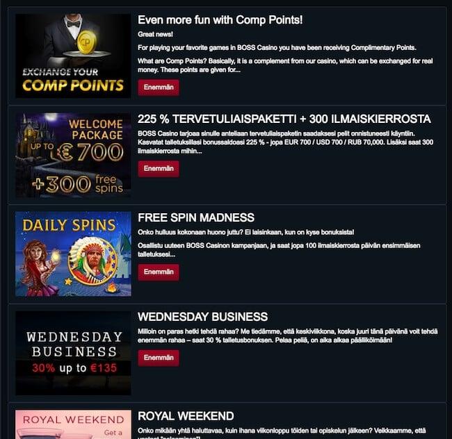 boss casino tarjoukset