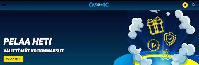 Casonic pelaa heti rekisteröitymättä