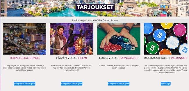LuckyVegas tarjoukset välilehti