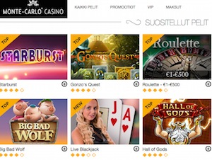 Monte Carlo Casinon pelivalikoima on laaja