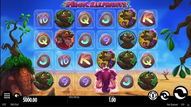 Pink Elephants kolikkopelin aloitusnäyttö!