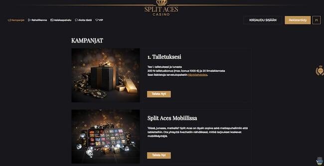 Split Aces Casino kampanjat