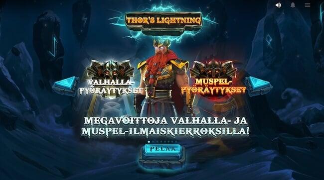 Thors Lightning aloitusnäyttö